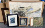 Sale 9011 - Lot 2087 - A group of assorted modern and contemporary artworks incl. Paul Schacher Nude work on paper -