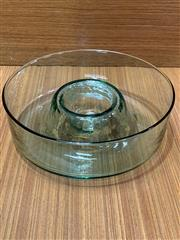 Sale 9022 - Lot 1005 - Mid Century Modern Sea Green Glass Centrepiece (d:27cm)