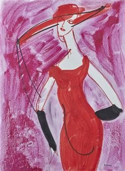 Sale 9118A - Lot 5004 - Alexandre (Sacha) Putov (1940 - 2008) - Lady In Red Dress, 1993 89 x 68 cm