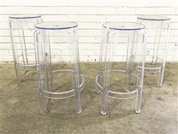 Sale 9112 - Lot 1062 - Set of four ghost style bar stools - damage to tops (h:65 dia:29cm)
