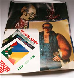 Sale 9136 - Lot 41 - A group of Elton John posters incl 1980 tour poster (61cm x 43cm) and two others (some wear)