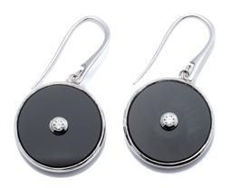 Sale 9149 - Lot 445 - A PAIR OF 9CT WHITE GOLD ONYX AND DIAMOND EARRINGS; each a 20mm onyx disc applied with a round brilliant cut diamond on a shepherds...