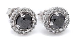 Sale 9149 - Lot 502 - A PAIR 14CT WHITE GOLD DIAMOND CLUSTER STUD EARRINGS; each centring a round brilliant cut black diamond surrounded by 18 single cut...