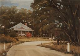 Sale 9170 - Lot 595 - JOHN PERKINS Country Road & White Cottage oil on board 36.5 x 53 cm (frame: 48 x 63 x 4 cm) signed lower left