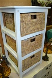 Sale 8093 - Lot 1555 - Timber Framed Bedside Cabinet w Wicker Baskets