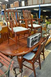 Sale 8138 - Lot 936 - Dining Suite incl. D-End Table On Cabrioles And Castors and Six Slat Back Dining Chairs Inc Two Carvers