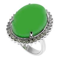 Sale 8171A - Lot 87 - Large jade and diamond ring in 18ct white gold, cabochon jade 20.66 x 15.40 x 8.13 and 34 round brilliant cut diamonds, size M with...