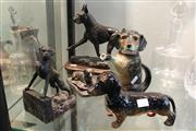 Sale 8306 - Lot 77 - Cast Metal Dog Figure (AF) with Other Dog Figures incl Ceramic Teapot