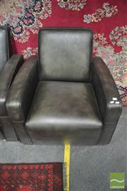 Sale 8406 - Lot 1169 - Leather Studded Green Club Chair