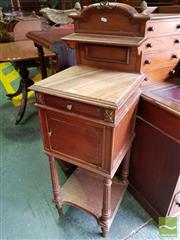 Sale 8485 - Lot 1090 - Louis XVI Style French Walnut Bedside Cabinet, with brown onyx top, a drawer, a door & lower shelf