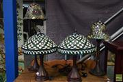Sale 8532 - Lot 1135 - Collection of Four Leadlight Shade Table Lamps
