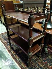 Sale 8653 - Lot 1014 - Victorian Style Mahogany Dumbwaiter, with three galleried tiers, on turned supports with acorn finials