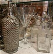 Sale 8510A - Lot 7 - A vintage soda syphon together with an oversized wine glass and two glass decanters