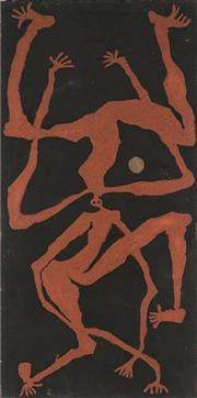 Sale 8862A - Lot 594 - Hughie Ahwon (1965 - ) - Dancers and the Moon II 77 x 38cm (stretched and ready to hang)