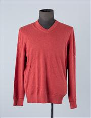 Sale 8770F - Lot 28 - A Hugo Boss cotton/wool blend V-neck classic fit sweater in red, size XL