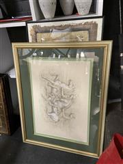 Sale 8910 - Lot 2096 - Group of Assorted Artworks incl. original works on paper, antique prints & decorative prints, embroidery, and an Ancient Egyptian St...