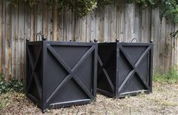 Sale 9135H - Lot 186 - A pair of large steel planter boxes with removable liner. 88cm Height, 75cm Width, 75cm Depth.