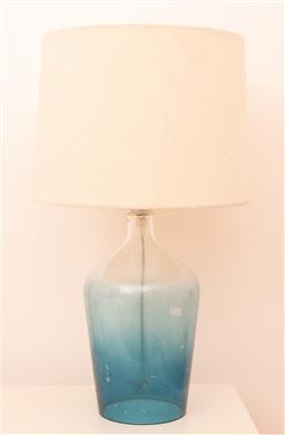 Sale 9150H - Lot 165 - A blue glass shouldered lamp with cream shade, total height 52cm