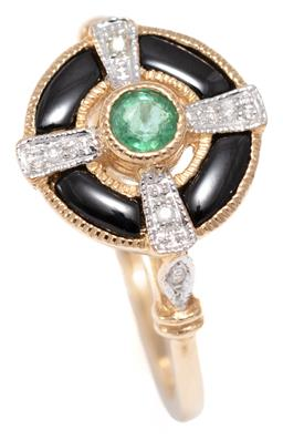 Sale 9156J - Lot 505 - A DECO STYLE EMERALD AND GEMSET RING; target mount centring a millegrain set round brilliant cut diamond to 4 radiating bars each se...