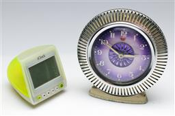 Sale 9156 - Lot 239 - An Equity alarm clock together with a Mac form iClock (H:8.5cm and 16cm)
