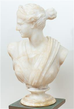 Sale 9165H - Lot 26 - A carved alabaster bust of Dianna in two parts on an associated socle base. (some chips) Total Height 60cm Ex Abbotsford House.