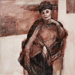 Sale 9180A - Lot 5046 - JUDITH JOHNSON When Life Becomes More Real (Portrait of Gwenda Hall), 2003 mixed media on canvas 151 x 150 cm signed, dated and titl...