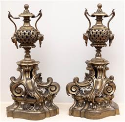 Sale 9190H - Lot 160 - A pair of ornate large antique heavy cast brass fire dogs C: 1860. Height 63cm x Width 30cm