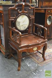 Sale 8282 - Lot 1003 - Chinese Carved Rosewood Armchair, with marble panel to back and apron, the arms with floral supports