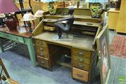 Sale 8326 - Lot 1614 - Rolltop Desk w 8 Drawers w British Makers Mark, HH HH