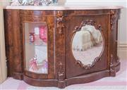 Sale 8430 - Lot 63 - A Victorian burr walnut marble topped credenza converted into a pop up television cabinet, with two arched glass display sections an...