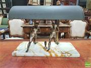 Sale 8428 - Lot 1039 - Mexican Onyx & Brass Desk Lamp, with brass athletic figures
