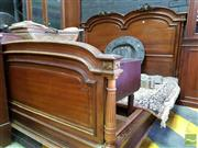 Sale 8485 - Lot 1097 - Early 20th Century French Walnut King Size Bed, with brass mounts & fluted columns