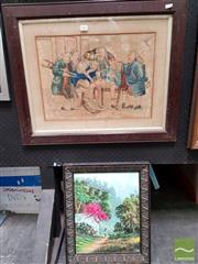 Sale 8487 - Lot 2089 - Framed with Glass Watercolour Surgery unsigned with Framed Painting on Board Oriental Scene signed LR (2)