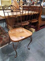 Sale 8934 - Lot 1023 - Set of Six Timber and Wrought Iron Dining Chairs