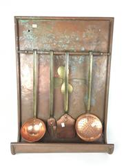 Sale 8931C - Lot 82 - Copper Kitchen Utensils with a Wall Hanger