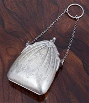 Sale 9070H - Lot 68 - A French silver hinged purse with engraved decoration and leather interior, Height 10cm