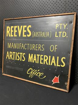 Sale 9117 - Lot 1065 - Vintage timber framed hand painted ARTISTS MATERIAL sign (h:61 x w:71cm)