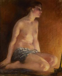 Sale 9096 - Lot 558 - Janet Cumbrae-Stewart (1883 - 1960) By The Lamplight pastel 44.5 x 36.5 cm (frame: 65 x 56 x 3 cm) signed lower left