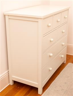 Sale 9150H - Lot 166 - A seven drawer cream painted chest of drawers, Height 97cm x Width 99cm x depth 50cm