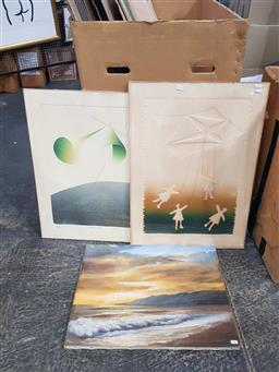 Sale 9172 - Lot 2067 - A pair of 1970s abstract etchings together with an oil of a Hawaiian sunset