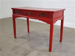 Sale 9188 - Lot 1554 - Chinese 3 drawer side table (h:90 x 127 x d:62cm)