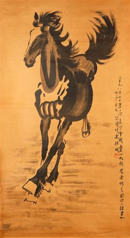 Sale 9253 - Lot 419 - Scroll feauring horse and Chinese characters (156cm x 66cm)