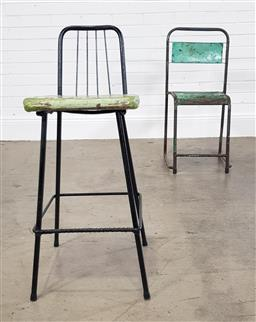 Sale 9255 - Lot 1453 - Metal chair together with a stool (chair - h:84 w:34 d:35cm)