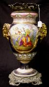 Sale 7746 - Lot 87 - Serves Style Gilt Metal Mounted Vase with Applied Goats Head Handles