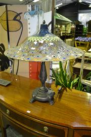 Sale 7987A - Lot 1017 - Table lamp with Lead-light Shade in Peacock Style Decoration