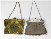 Sale 8134B - Lot 330 - TWO FRENCH BELLE EPOQUE MESH PURSES; brass set with blue crystals and EP mesh with silk lining, width 15cm.