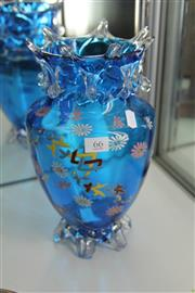 Sale 8296 - Lot 66 - Venetian Blue Enamelled Glass Vase