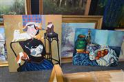 Sale 8410T - Lot 2027 - Group of (3) Assorted Artworks including Original Paintings Still Life & Woman in Interior Scene, and a framed decorative print.