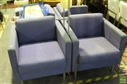 Sale 8499 - Lot 1037 - Set of Four Square Armchairs on Metal Legs