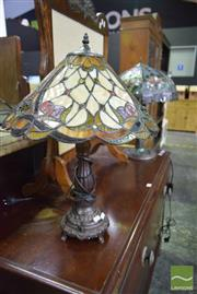 Sale 8542 - Lot 1012 - Two Leadlight Shade Table Lamps